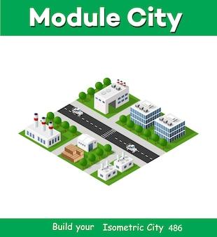 Elementos de design urbano isométrico industrial de fábrica de cidade