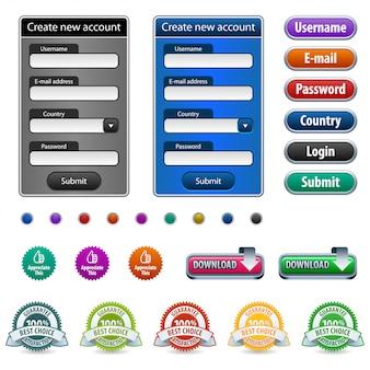 Elementos de design web com formulário de login