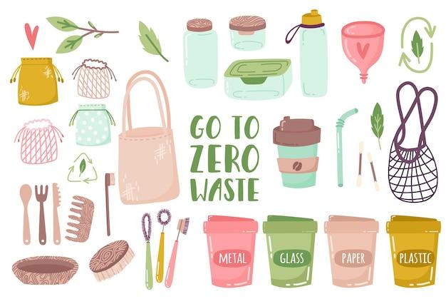 Elementos de desperdício zero de vida em frascos de vidro de vetor sacos ecológicos escova de dentes de talheres de madeira