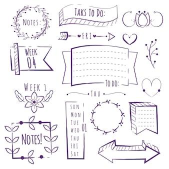 Elementos de diário de marcador de espaço de cópia desenhada à mão