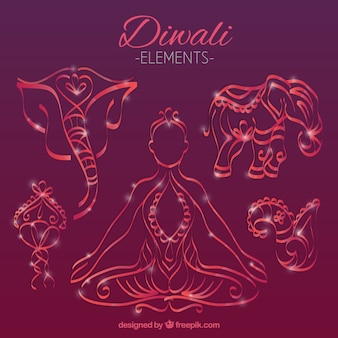 Elementos de diwali desenhados mão