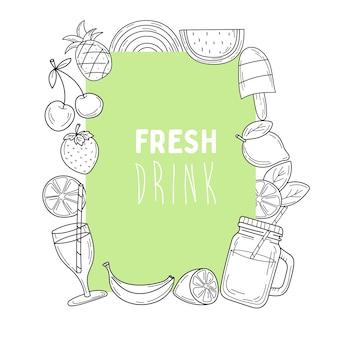 Elementos de doodle de bebidas frescas de cartão postal verde de verão