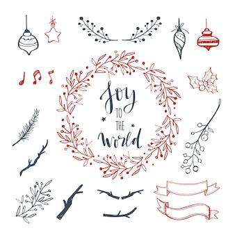 Elementos de doodle de design de natal desenhados à mão