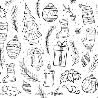 Elementos de doodle de fundo de natal