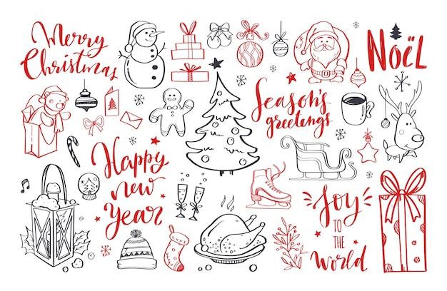 Elementos de doodle de natal com letras de feliz natal e ano novo