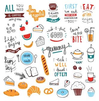 Elementos de doodle de tema de café
