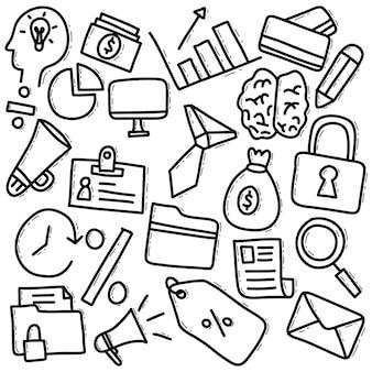 Elementos de doodle desenhados à mão para negócios