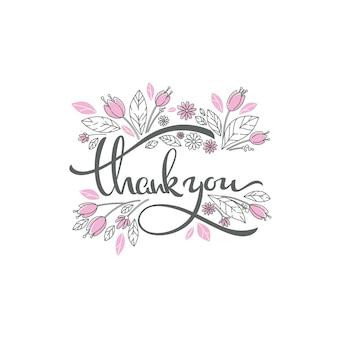 Elementos de doodle floral e composição de letras de agradecimento