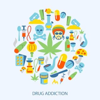 Elementos de drogas planas