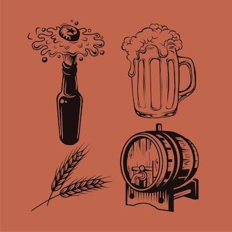 Elementos de drwan de mão de fest de cerveja