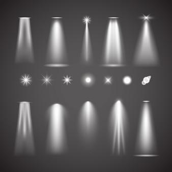 Elementos de efeito de luz diferentes. coleção de vetores de luzes brilhantes