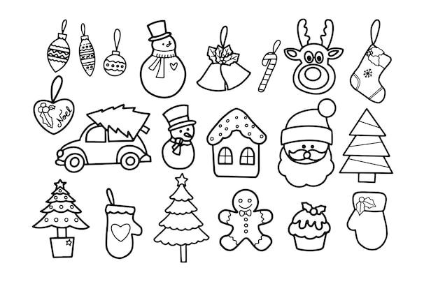 Elementos de enfeite de natal rabiscos desenhados à mão para cartão decorativo, banner