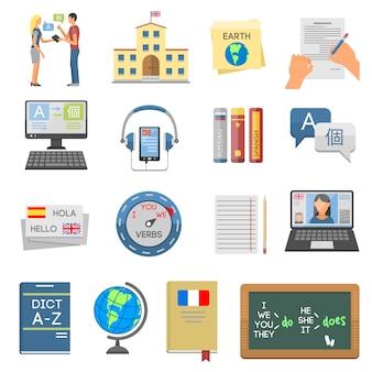 Elementos de ensino de idiomas e aprendizado escolar