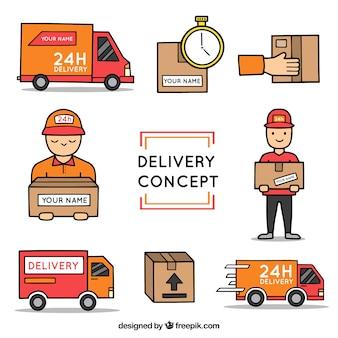 Elementos de entrega desenhados à mão