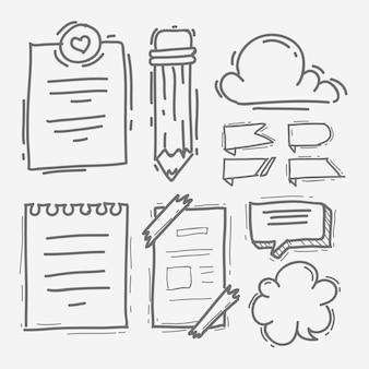 Elementos de esboço de marcador de diário