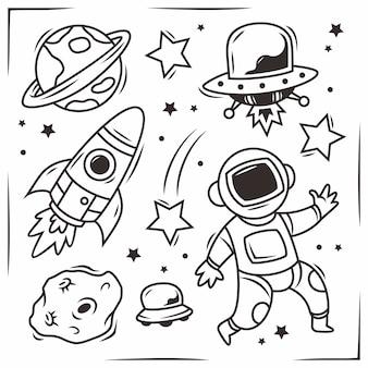 Elementos de espaço desenhados à mão