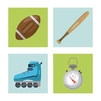 Elementos de esportes bastão de futebol e temporizador e skate