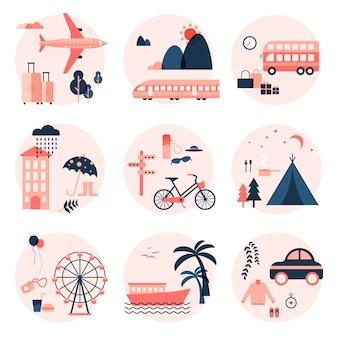 Elementos de estilo plano do conjunto de viagem