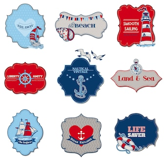 Elementos de etiqueta marítima náutica