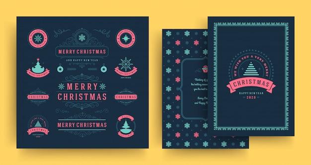 Elementos de etiquetas e emblemas de natal conjunto com modelo de cartão de saudação.