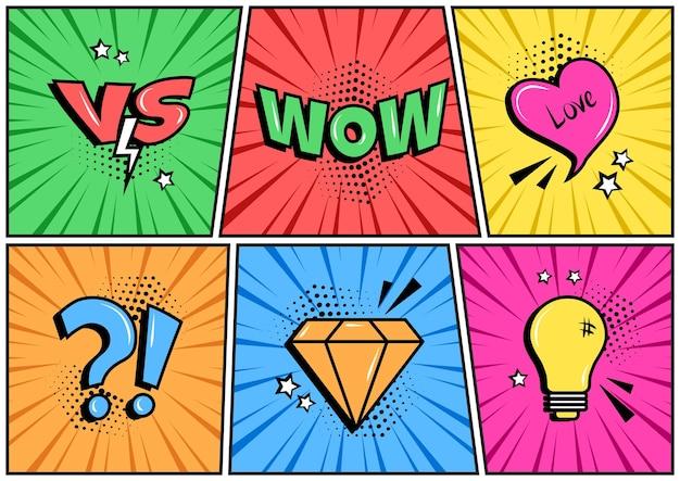 Elementos de fala diferentes em quadrinhos na arte pop