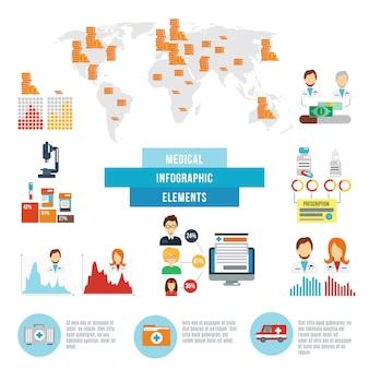 Elementos de fatos médicos infográfico dados