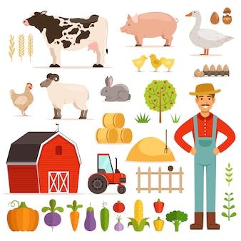 Elementos de fazenda diferentes