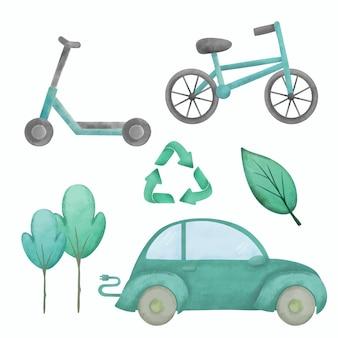 Elementos de feriado do dia livre de carro eco