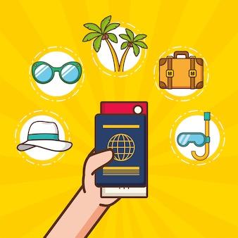 Elementos de férias de praia