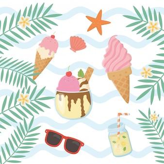 Elementos de férias de verão