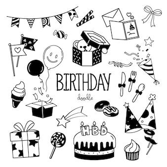 Elementos de festa de aniversário de estilos de desenho de mão