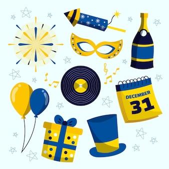 Elementos de festa de ano novo de 2021 desenhados à mão com fogos de artifício