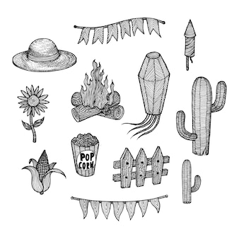 Elementos de festa junina, ilustração de mão desenhada
