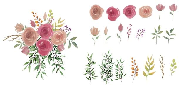 Elementos de flores e folhas em aquarela e buquê de flores em aquarela