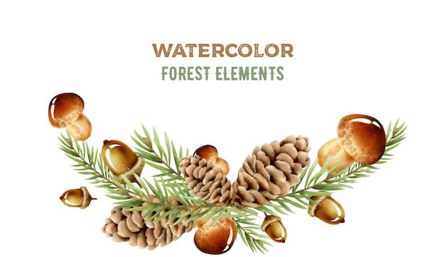 Elementos de floresta em aquarela com cogumelos