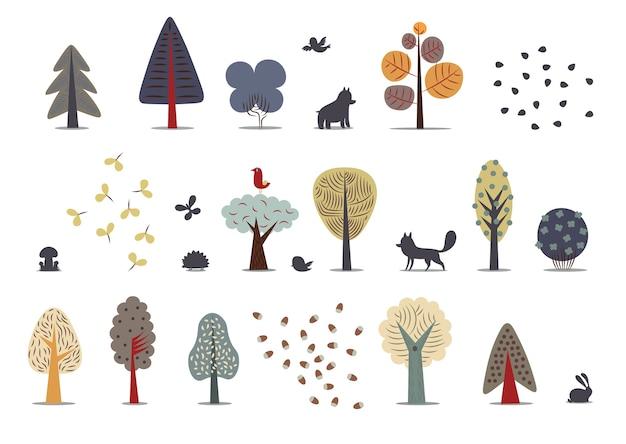 Elementos de floresta plana - várias árvores, animais selvagens e sementes.