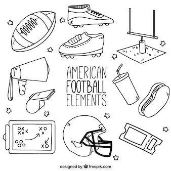 Elementos de futebol americano desenhados à mão