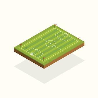 Elementos de futebol de campo isométrico.