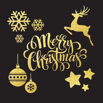 Elementos de glitter dourados de natal, cartão de felicitações