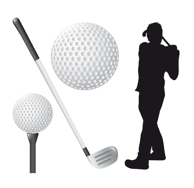 Elementos de golfe sobre ilustração vetorial de fundo branco