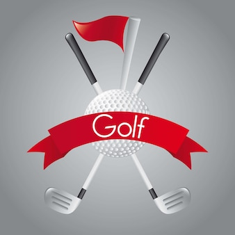 Elementos de golfe sobre ilustração vetorial de fundo cinza