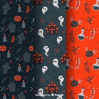 Elementos de gótico plana coleção halloween padrão