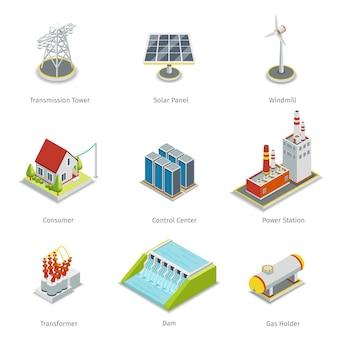 Elementos de grade inteligente. conjunto de itens de rede inteligente de energia.