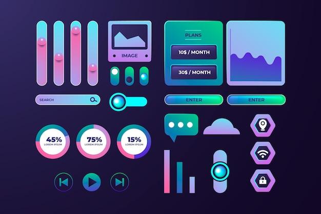 Elementos de gradiente ui / ux realistas