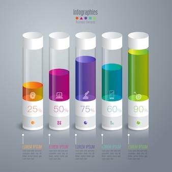 Elementos de gráfico de barras coloridas para a apresentação