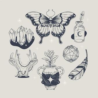 Elementos de gravura boho