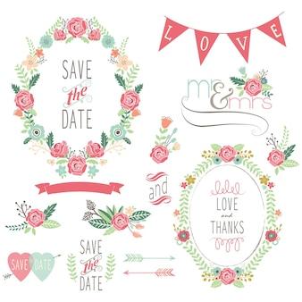 Elementos de grinalda de rosa de casamento