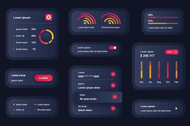 Elementos de gui para aplicativo móvel de análise de negócios