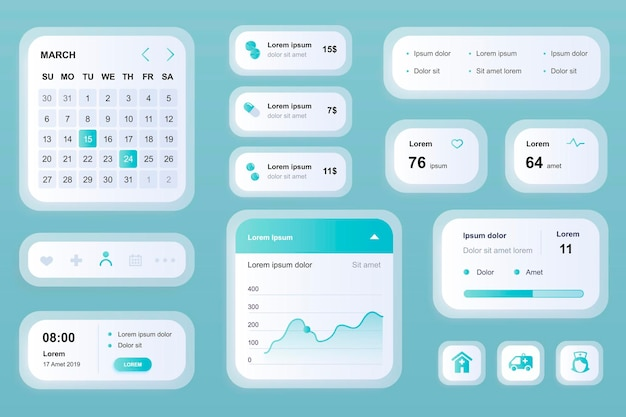Elementos de gui para aplicativo móvel de medicina