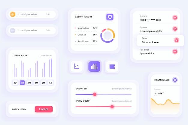 Elementos de gui para iu de aplicativo móvel financeiro, kit de ferramentas ux